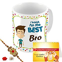 Aart Store I Am Best Bro Multi Colours Printed Mug, Greeting Card, Rakhi, Roli, Chawal Gift Pack for Brothers/Sisters to Enjoy Raksha Bandhan Festival.