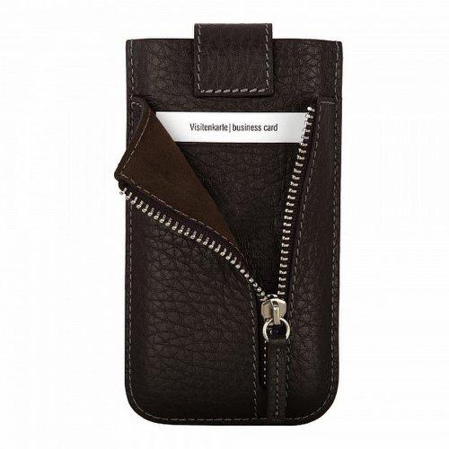 bugatti Echtledertasche für Apple iPhone SE / 5S / 5C / 5 - schwarz [Größe: ML | Handarbeit | Einfache Entnahme | Gürtelschlaufe | Magnetverschluss] - 08081 Dunkelbraun