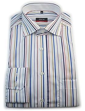 ETERNA Herren Langarm Hemd Modern Fit mehrfarbig gestreift mit Patch 4189.25.X157