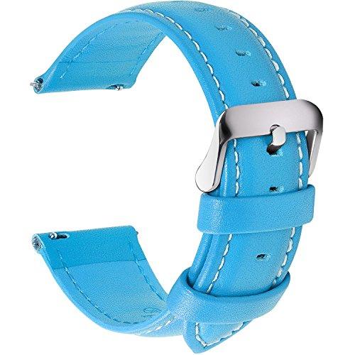 Fullmosa 12 Farben Uhrenarmband, Axus Serie Lederarmband Ersatz-Watch Armband mit Edelstahl Metall Schließe für Herren Damen 24mm Himmelblau