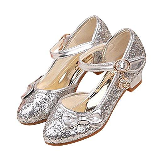 Brinny Prinzessin Absatzschuhe Glitzer Pumps Mädchenschuhe halb Sandalen Ballerina Kommunion Party Festschuhe Größe: 28-38 Silber