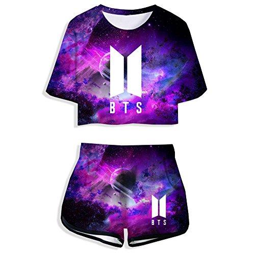 Shirt & Hosen Set, KPOP Bangtan Jungen Hip Pop Pullover Rundhals Kurzarm Tops Sportbekleidung Freizeitkleidung für Liebespaar Männer Damen und Jugendliche (Galaxy Violett, S) ()