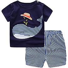 Conjunto Bebé Verano ❤️ Amlaiworld Recién nacido Infantil Bebé Niño niña dibujos animados Tops camisas Camiseta Chaleco y Pantalones cortos Conjuntos de ropa trajes (Azul, Tamaño:18-24Mes)