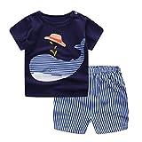 Conjunto Bebé Verano ❤️ Amlaiworld Recién nacido Infantil Bebé Niño niña dibujos animados Tops camisas Camiseta Chaleco y Pantalones cortos Conjuntos de ropa trajes (Azul, Tamaño:12-18Mes)