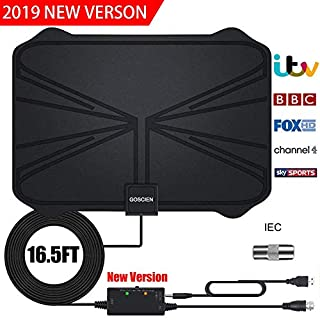 TV Aerial, Amplified HD Digital TV Aerial with 65+ Miles Range with Adjustable Amplifier Signal Booster 4K 1080P HD Life Local Channels Support ALL TV's -16.5ft Coax Cable/Power Adapter