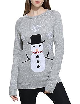 ELLAZHU mujeres cuello redondo muñeco de nieve de tejer copo de nieve Feliz Navidad suéter YY57 gris M