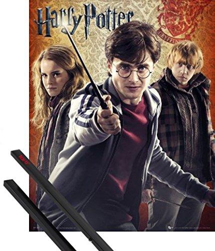 Póster + Soporte: Harry Potter Póster Mini (50x40 cm) 7 Parte 2, Todo Acaba Y 1 Lote De 2 Varillas Negras 1art1®