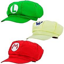Gorra Super Mario 3x SET RED MARIO - GREEN LUIGI - AMARILLO WARIO para adultos y gorra de carnaval carnaval gorra