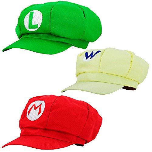 Wario Waluigi Kostüm Und - thematys Super Mario Mütze Luigi Wario - 3er Kostüm-Set für Erwachsene & Kinder - perfekt für Fasching, Karneval & Cosplay - Klassische Cappy Cap