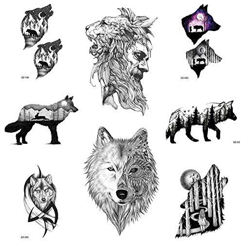lihaohao Löwenkünstler Temporäre Tätowierung Aufkleber Männer Arm Timber Wolf Totem wasserdichte Frauen Unterarm Ahorn Schwarz Fake Tattoo Aufkleber 3D 10,5X6 cm 8 Stück -