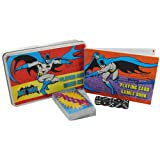DC Comics Playing Card and Dice Set in A Flat Brushed Tin Batman, Plastic, Assorted