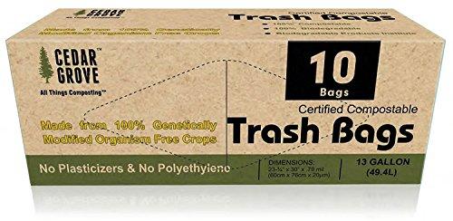 Cedar Grove (– 49,4 Liter/13 Liter kompostierbar Bin/Trash Tasche Liners – 1 Rolle von 10 Beuteln (Cedar Liner)