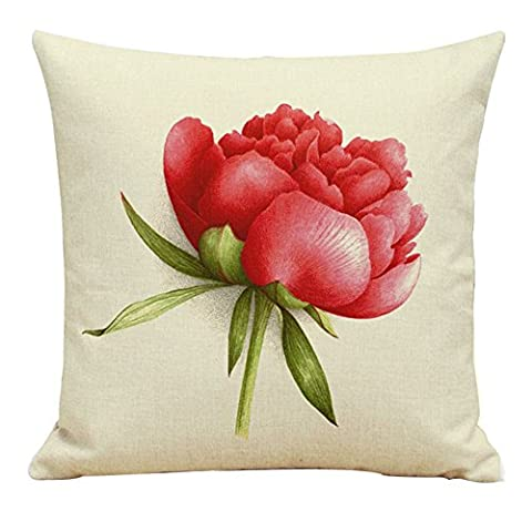 Omiky® 18*18Inches Flax Cushion Case,Digital Printing Fresh Flowers Pillow Cover with Hidden Zipper for Sofa Bed Home (Flower F)