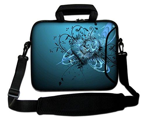 LUXBURG® 15,6 Zoll Schultertasche Notebooktasche Laptoptasche Tasche mit Tragegurt aus Neopren für Laptop / Notebook Computer - Blaues Herz