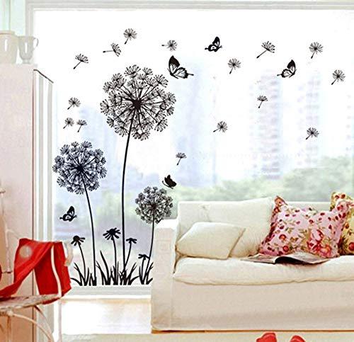 ufengke Schwarze Löwenzahn und Schmetterlinge Fliegen im Wind Wandsticker, Wohnzimmer Schlafzimmer Entfernbare...