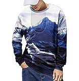 Xmiral Sweatshirt Herren 3D Drucken Lange Ärmel Sportbekleidung mit Rundhals Herbst Outdoor Tops Sports Pullover Oberbekleidung(Dunkelblau,L)