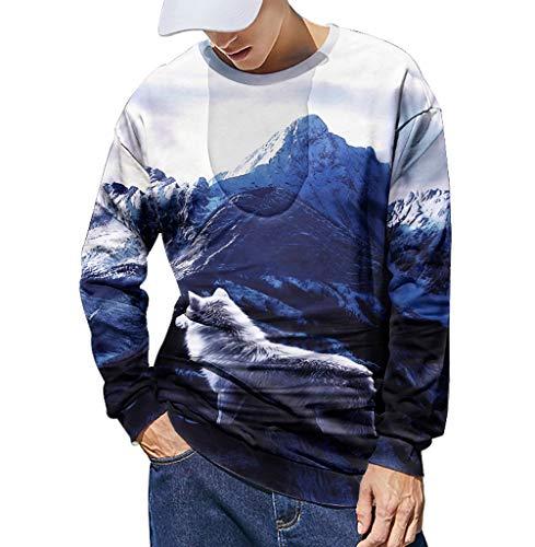 Xmiral Sweatshirt Herren 3D Drucken Lange Ärmel Sportbekleidung mit Rundhals Herbst Outdoor Tops Sports Pullover Oberbekleidung(Dunkelblau,XL)