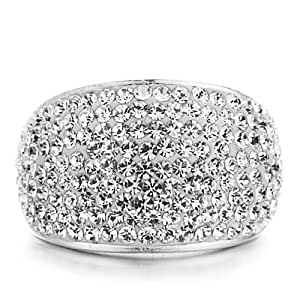 Shimla Jewellery Shimla Solid Stainless Ring with Pave Clear Czech Crystals- Size N