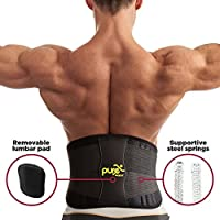 Back Support - Lumbar Lower Back Brace - Waist Support Belt with Removable Pad and Dual Adjustable Straps for Men and Women