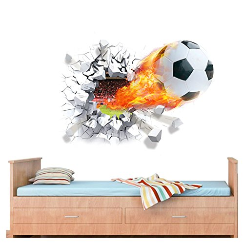 Wandaro W3320 Wandtattoo brennender Fußball I 70 x 50 cm I Fussball Jugendzimmer Stadion Kinderzimmer Ball Aufkleber Wandaufkleber Wandsticker