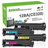 Aztech 4 Pack Kompatibel für HP 128A Toner für HP Color Laserjet Pro CP1525n CP1525 CM1415 cm 1415 CM1415FN CM1415FNW CP1525NW für HP Laserjet CE320A CE321A CE322A CE323A HP 1525NW