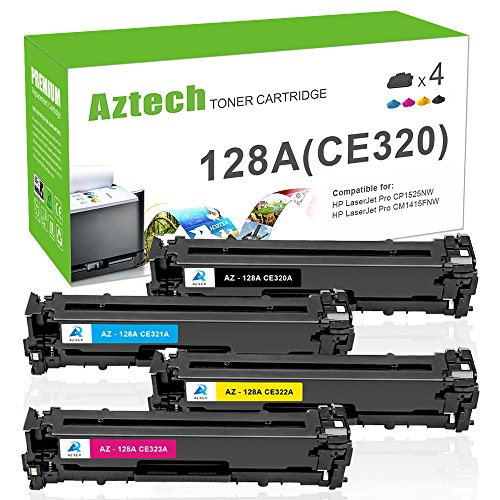 Aztech Kompatibel für HP 128A CE320A CE321A CE322A CE323A für HP Laserjet Pro CM1415 CM1415FN CM1415FNW CP1525 CP1525N CP1525NW