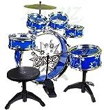 Steinbach Kinderschlagzeug, Schlagzeug mit Hocker und 2 Trommelstöcken, Schlagzeug Drumset, Kinder Trommel - Set Schlagzeug Drumset 9-TLG - BLAU