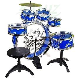 Batteria Musicale 9 Elementi – Percussioni Strumenti Musicali con Sgabello e Bacchette –