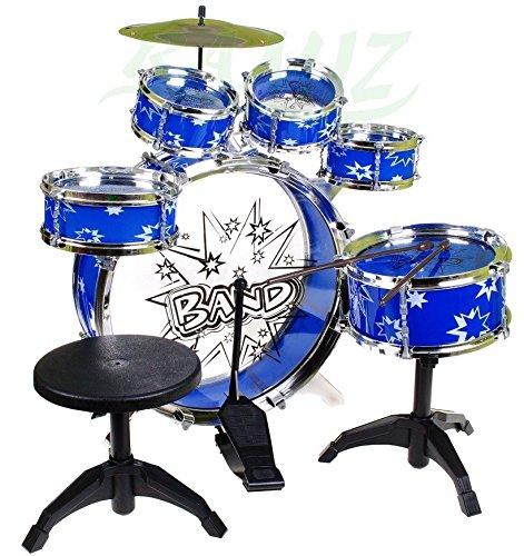 BSD Steinbach Kinderschlagzeug, Schlagzeug mit Hocker und 2 Trommelstöcken, Schlagzeug Drumset, Kinder Trommel - Set Schlagzeug Drumset 9-TLG - BLAU