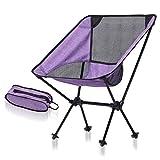 Outdoor Camping Klappstuhl Export Ultraleichte Tragbare Mond Stuhl Luftfahrt Aluminium Angeln Stuhl Freizeit Strandkorb (Farbe : Purple+Black net)