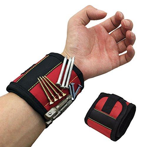NACHEN Bracelet Magnétique Polyester Portable Réparation De Support De Forets De Vis D'électricien Sac À Poignet,Red,Length35cm