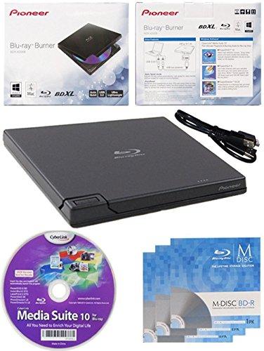 Pioneer bdr-xd05 6x slim usb 3.0 portatile bd / dvd / cd burner con 3pk gratis software mdisc bd + media suite cyberlink + cavo usb