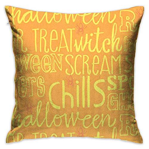 FPDecor Dekorativ Kissenbezug, Throw Pillow Cover Vintage Happy Halloween Monogrammed Decorative Pillow Case Decor Square 18x18 Inch Cushion Pillowcase
