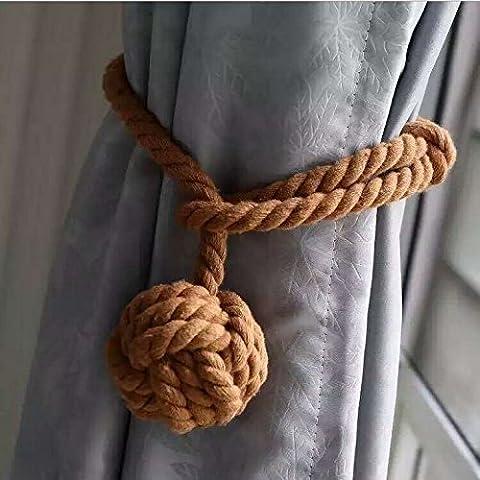 Ein Paar handgestrickte Vorhang-Raffhalter braun