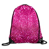 Pink Glitter Print Drawstring Backpack Rucksack Shoulder Bags Gym Bag Sport Bag