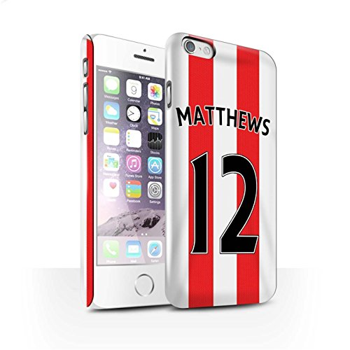Offiziell Sunderland AFC Hülle / Glanz Snap-On Case für Apple iPhone 6S / Kirchhoff Muster / SAFC Trikot Home 15/16 Kollektion Matthews
