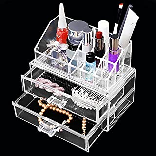Apgstore Cosmetic Organizer Clear Acrylic Makeup Drawers Holder Case Box Jewelry Storage (Style-1)