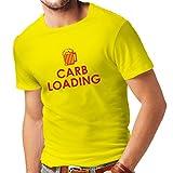lepni.me Camisetas Hombre Carb Loading - Citas Divertidas de Fitness, Ropa de Entrenamiento (XX-Large Amarillo Rojo)