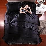 simonshop 4Stück leicht weich Betten Set bequem Seide Bettwäsche Bettbezug-Set Kissenbezüge Queen King Size, schwarz, 200cmx230cm