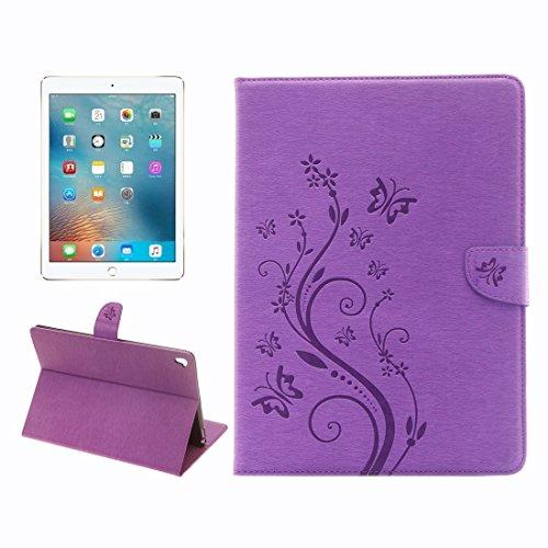 DuoShengZhTG Für iPad Pro 9.7 Zoll helle Farbe magnetische Schnalle Blumen Schmetterling Muster horizontalen Flip PU Ledertasche mit Halter & Card Slots & Wallet (Farbe : Violett)
