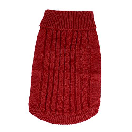 sourcing map Rot Twisted Gerippt Strickwaren Bekleidung Pullover Größe M für Haustier Hund de - Rot Gerippt Pullover