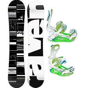 Raven Snowboard Set: Snowboard Supreme Black/Green + Bindung Pathron Fastec Team ST White/Green/Blue
