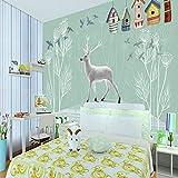 Legno Dipinto A Mano Cervo Bianco Uccello Casa Tarassaco Foto 3D Carta Da Parati Camera Dei Bambini Decorazione Murale Sfondo Muro 18,15/1㎡