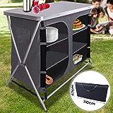 Miadomodo Cuisine de Camping Pliable | 6 Compartiments, 110 x 90 x 47 cm, avec Étui, en Aluminium et MDF | Meuble, Mobilier, Armoire de Camping Cuisine