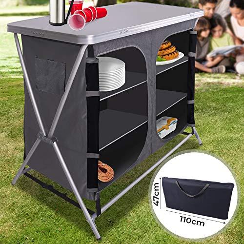 Miadomodo Cuisine de Camping Pliable | 6 Compartiments, 110 x 90 x 47 cm, avec Étui, en Aluminium et MDF | Meuble, Mobilier, Armoire de Camping Cuis