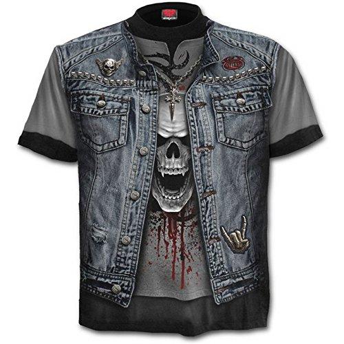 "Basura Metal Spiral Directo Integral Steampunker Rock Metal Gótico Chaleco Motero Calavera camiseta hasta Extra Extra Grande - algodón, Negro, 100% algodón, Hombre, XX-Large / 50""-52"""