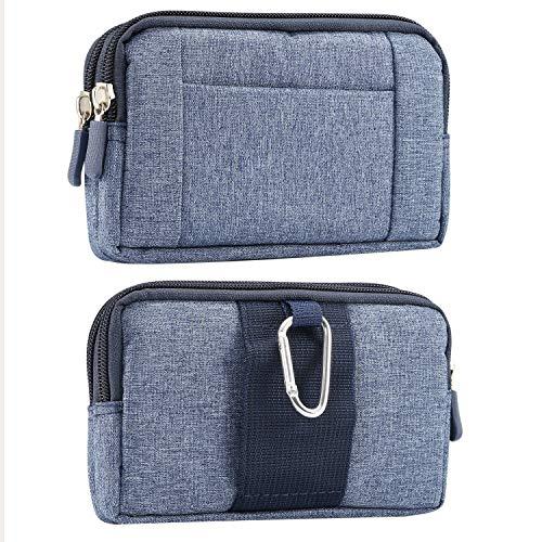 Monedero de la Bolsa del teléfono de la Bolsa de la Cintura del Deporte del Dril de algodón de los Hombres Que cuelga para el iPhone XS Max/XR/6S Plus, Galaxy S8/Note 9/J7/A8,Honor V10,LG,Sony (Blue)