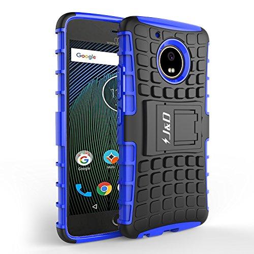J & D Kompatibel für Moto G5 Plus Hülle, [Standfuß] [Doppelschicht] [Heavy-Duty-Schutz] Genaue Passform Hybride Stoßfest Schutzhülle für Motorola Moto G5 Plus - [Nicht kompatibel mit Moto G5] - Blau