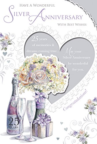"Silver 25th Wedding Anniversary Card - Champagne, Pale Flowers & Present 9"" x 6"""