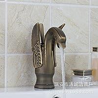 WYMBS Accessori per mobili creativo decorazione bagno Europeo piatti caldo e freddo rame Swan antichi in ceramica lavabo